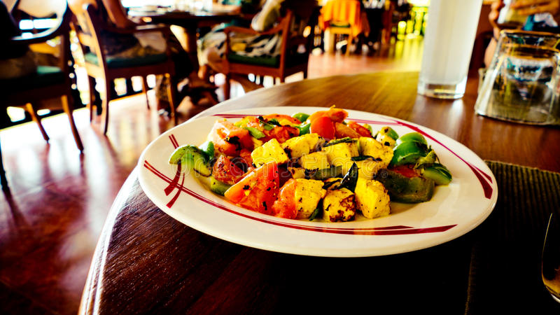 Tasty Indian food Paneer and vegetables. Restaurant in Kerala India stock photography