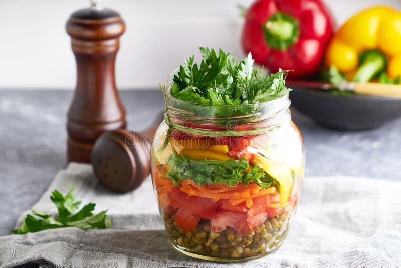 Tasty mason salad in jar. Homemade and healthy food royalty free stock photography