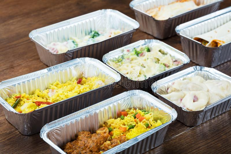 Meal In Take Away Containers stock photo