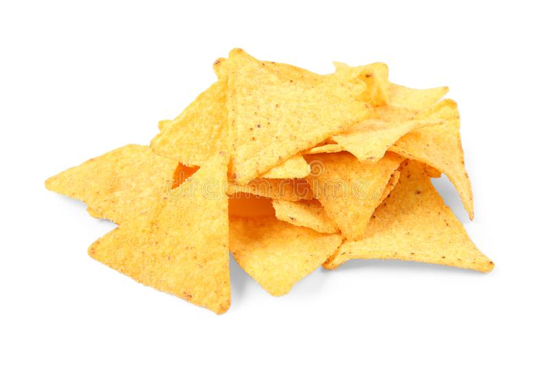 Tasty Mexican nachos chips on white royalty free stock photo