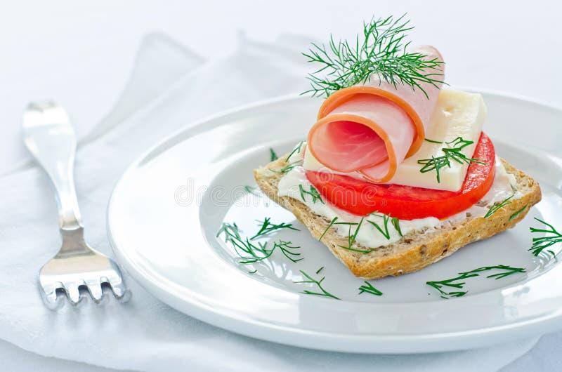 Tasty mini ham sandwich royalty free stock photo