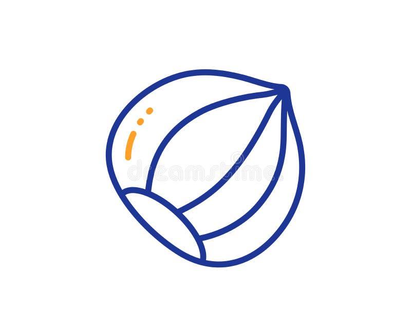 Hazelnut line icon. Tasty nut sign. Vegan food. Vector vector illustration