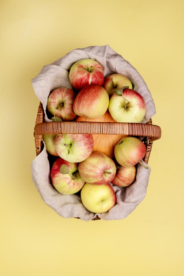 Tasty Organic Apples and Small Pumpkin in Basket on Yellow Background Vertical Top View Harvest Time Autumn Fruits in Basket.  royalty free stock photos