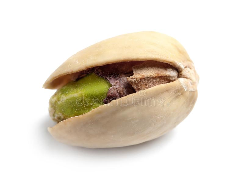 Tasty organic pistachio nut on white background, closeup stock images