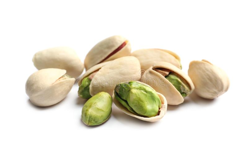 Tasty organic pistachio nuts on white background, closeup royalty free stock photo