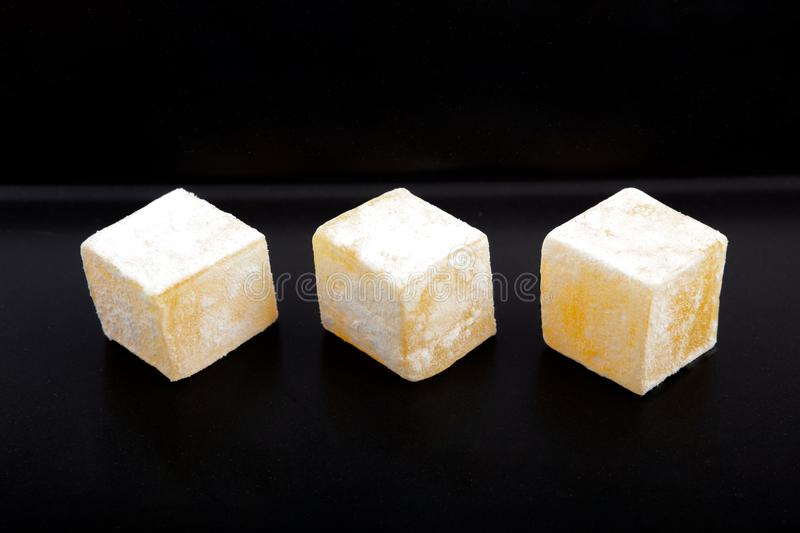 Tasty oriental sweets Turkish delight lokum royalty free stock images