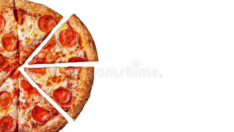 Tasty pepperoni pizza. Top view of hot pepperoni pizza. Flat lay. Isolated on white background stock photo