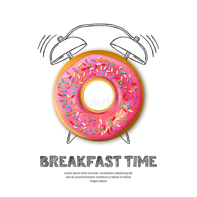 Vector design for breakfast menu, cafe, bakery. Donut and hand drawn alarm clock isolated on white background stock illustration