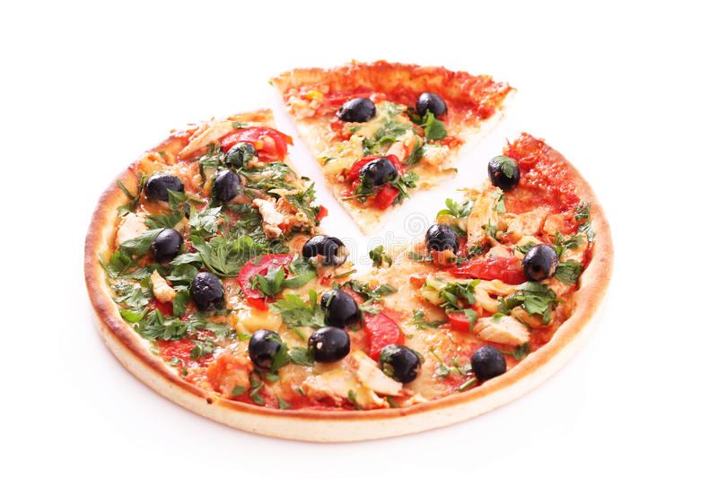 Tasty Pizza with olives isolated stock image