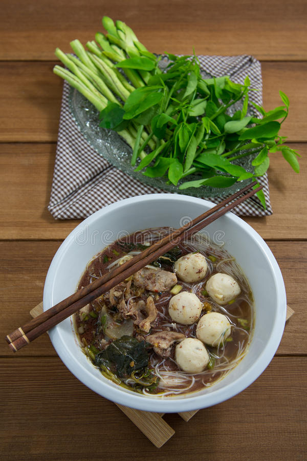 Tasty pork noodles Thailand stock image