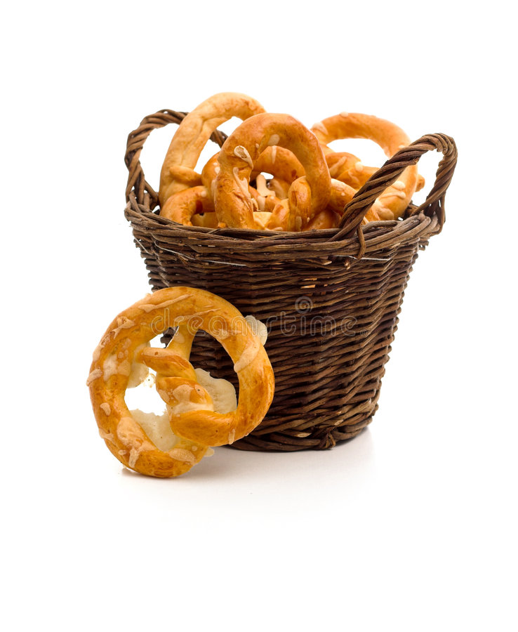 Tasty pretzels. A healthy breakfast: a tidy full of tasty pretzels stock photo