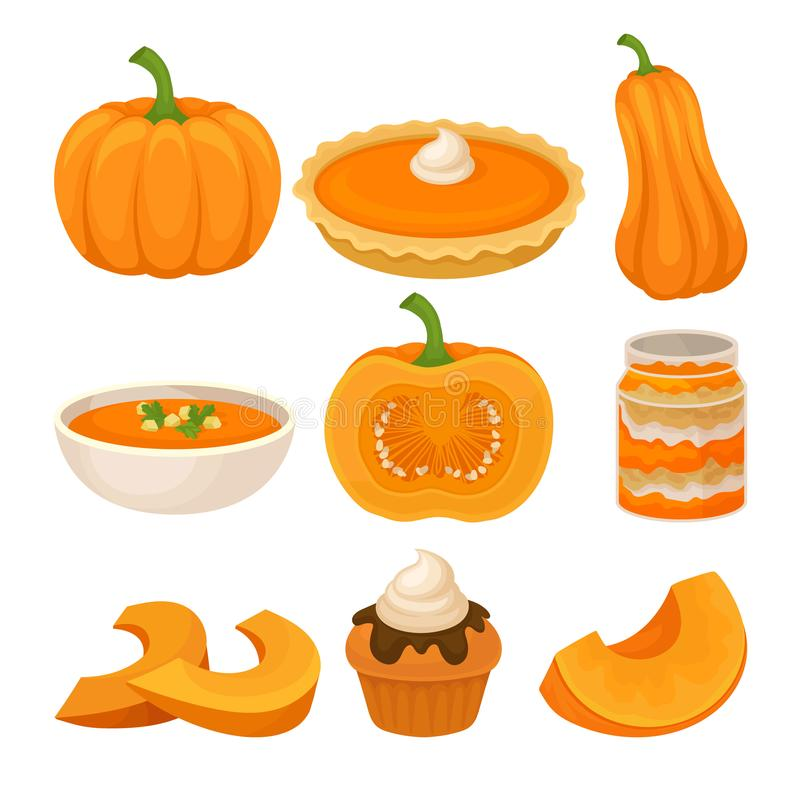 Tasty pumpkin dishes set, fresh ripe pumpkin and traditional Thanksgiving food vector Illustration on a white background stock illustration