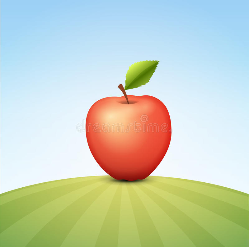 Tasty Red Apple on Green Field royalty free illustration