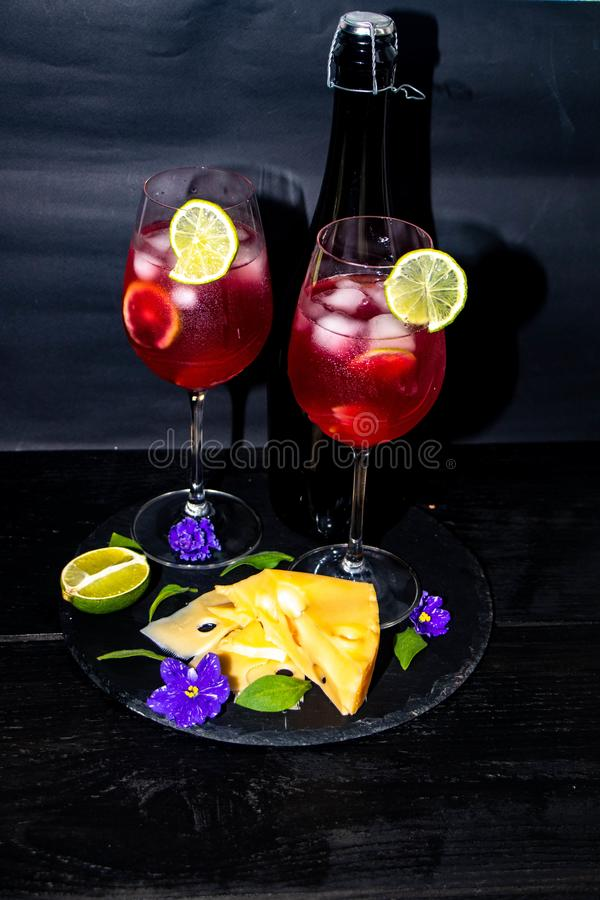 Tasty, red champagne in glasses. royalty free stock images