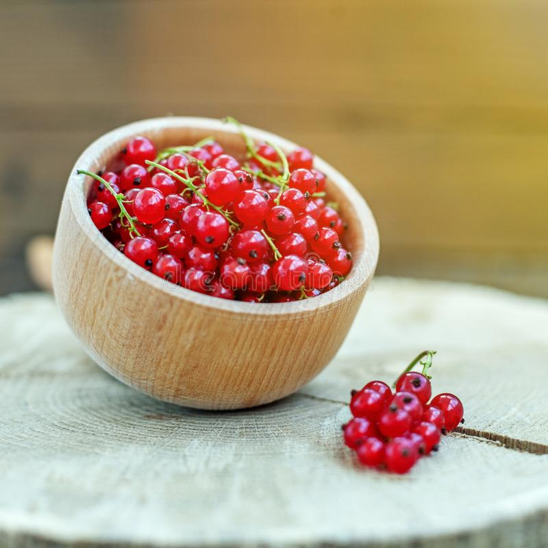 Tasty red currant in a wooden bowl. Useful berries. The concept. Is healthy food, vitamins, diet and vegetarianism stock images