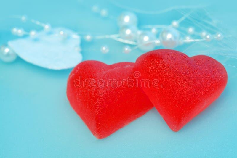 Tasty red hearts stock photo