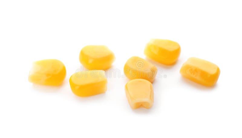 Tasty ripe corn kernels. On white background royalty free stock photography