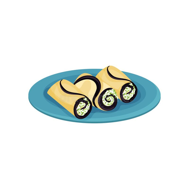 Tasty rolls with cream cheese and greens. Delicious snacks on blue plate. Appetizing food. Flat vector design. Tasty rolls with cream cheese and greens royalty free illustration