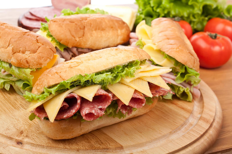 Tasty Salami Sandwiches stock images