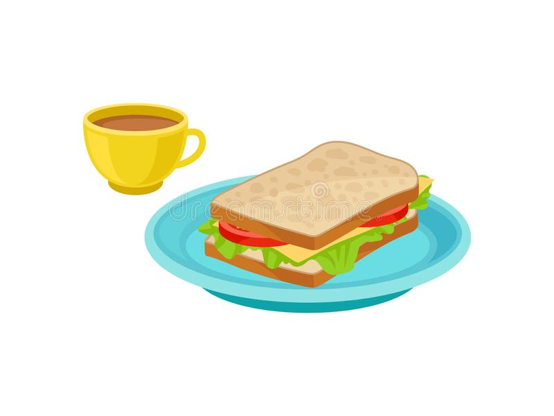 Tasty sandwich on blue plate and fresh coffee in yellow cup. Delicious food. Traditional breakfast. Flat vector design royalty free illustration
