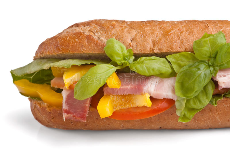 Tasty sandwich with meat and basil royalty free stock photo