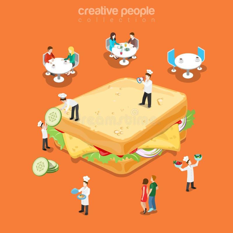 Tasty sandwich restaurant fast food menu flat vector isometric vector illustration