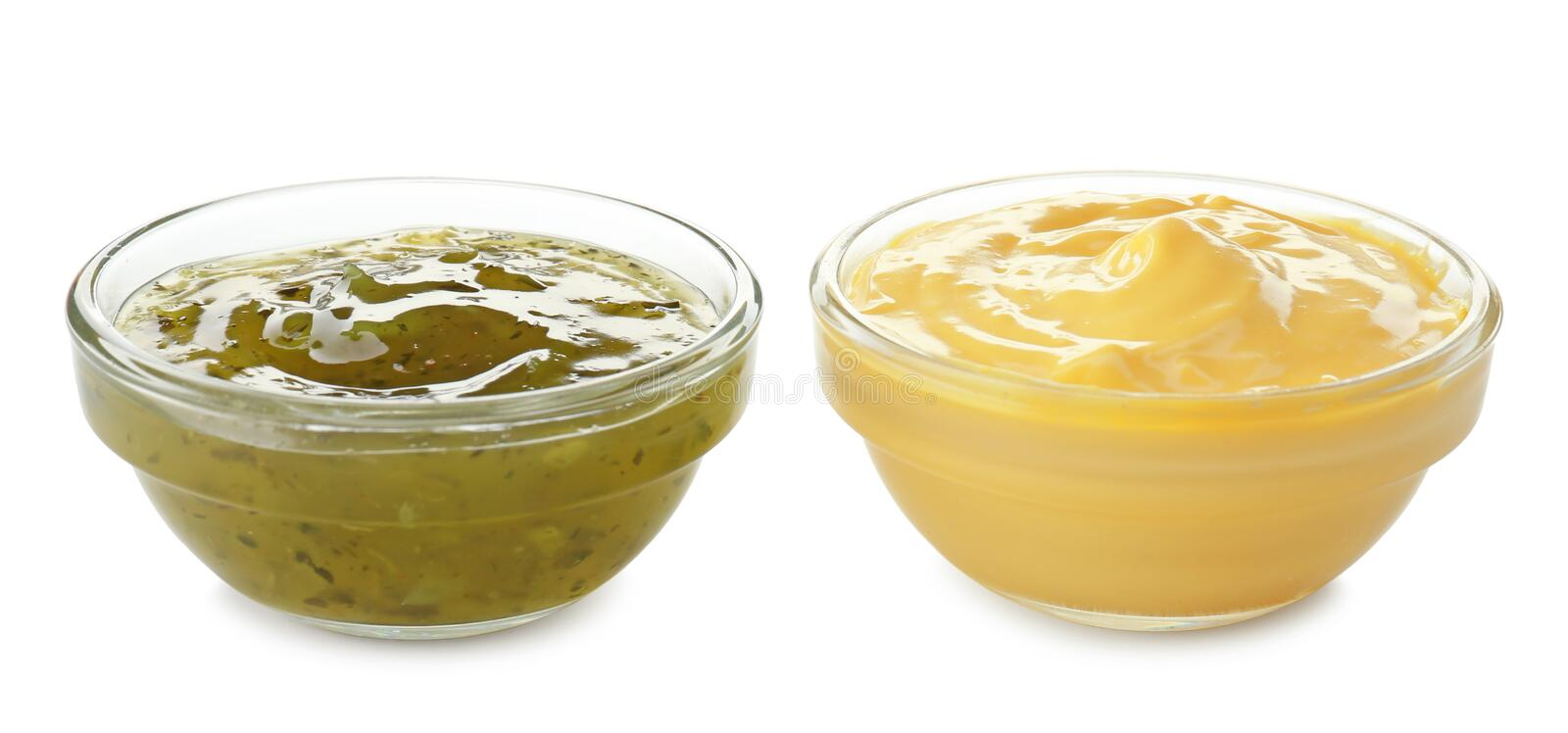 Tasty sauces in bowls on white background stock photos
