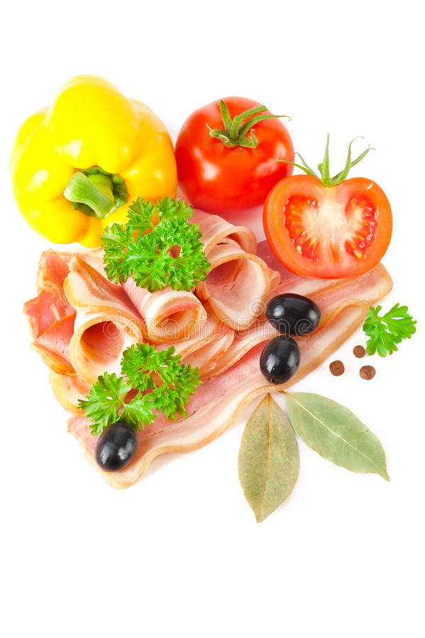 Download Tasty Sliced Bacon With Vegetables And Spices Royalty Free Stock Photos - Image: 19430438