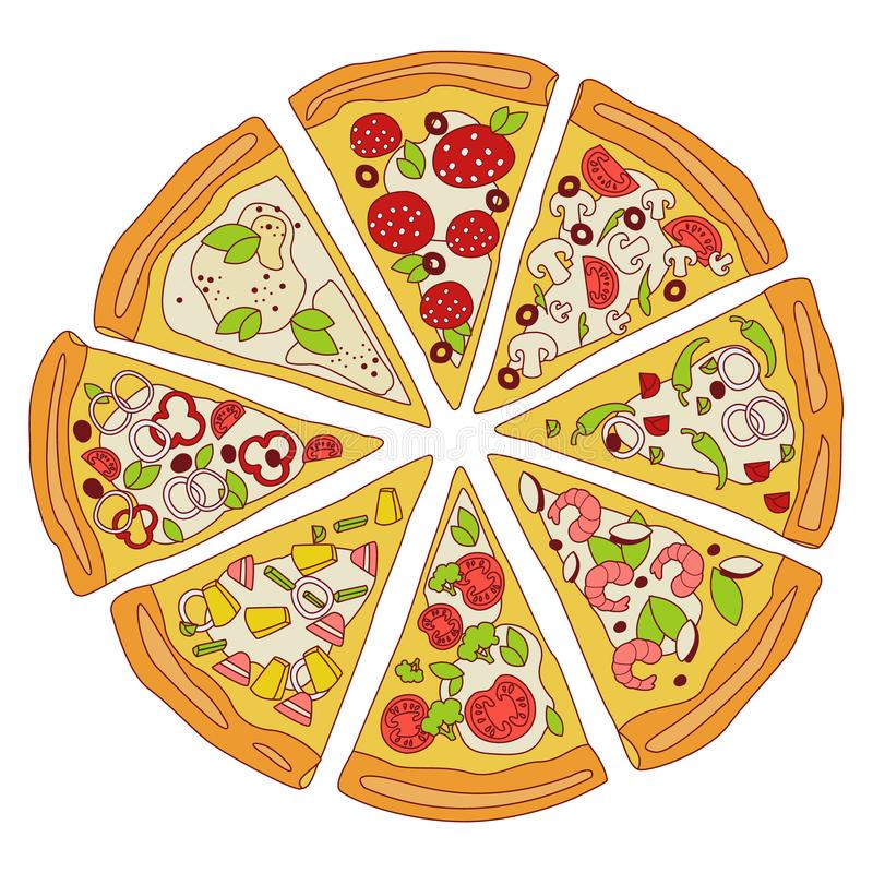 Tasty Sliced Pizza Illustration. Tasty Sliced Pizza, slices of pizza with various ingredients, hand-drawn Vector Illustration vector illustration