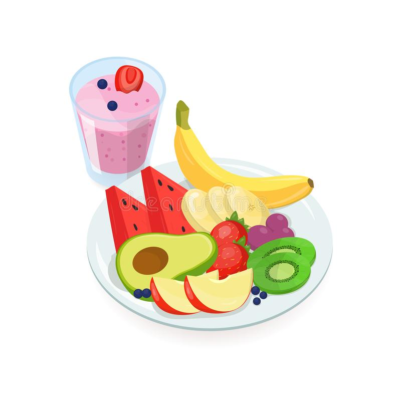 Tasty slices of fresh exotic fruits lying on plate and glass of berry smoothie isolated on white background. Delicious. Homemade dish, healthy vegan and stock illustration