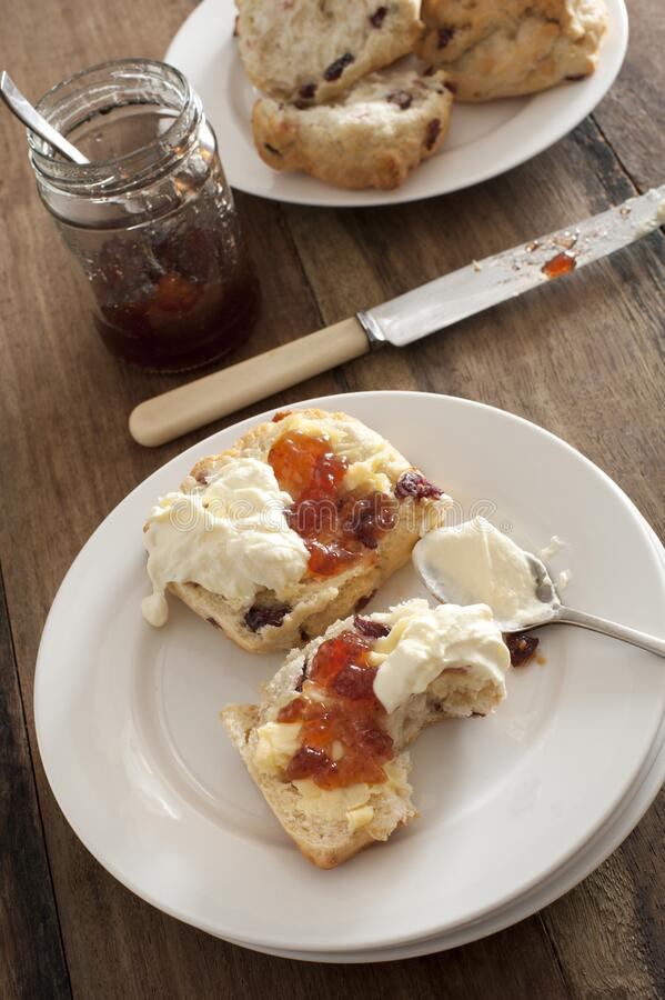 Tasty snack of a raisin scone and cream royalty free stock photo