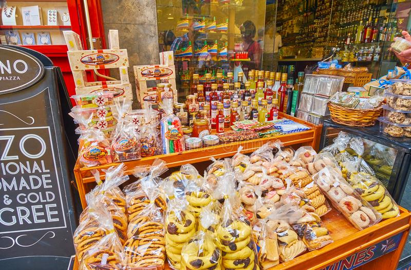 Tasty souvenirs from Gozo, Victoria, Malta stock images
