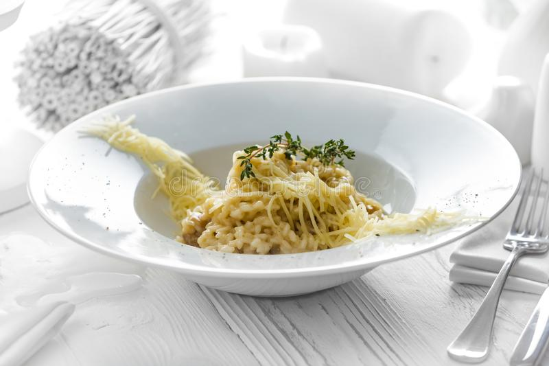 Tasty spaghetti with cheese on a plate royalty free stock photos