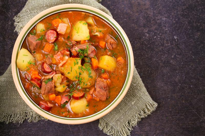 Tasty stew. Goulash soup bograch in a bowl. Hungarian dish. royalty free stock photo
