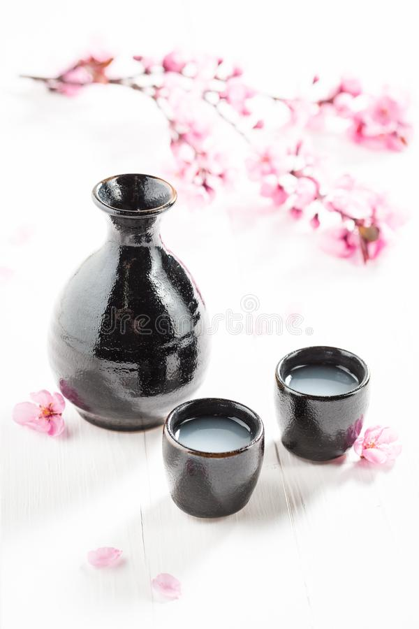 Tasty and strong sake in the Japanese restaurant royalty free stock images