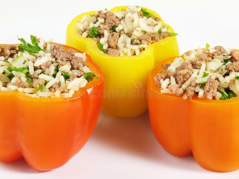 Tasty Stuffed Peppers. Stuffed peppers filled with rice, ground beef, onion, parsley, and spices. This flavorful dish is found in many variations in the Balkans stock images