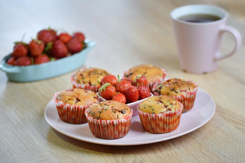 Tasty summer dessert: chocolate chip and fresh strawberry muffins on a pink plate decorated by fresh strawberries royalty free stock photos