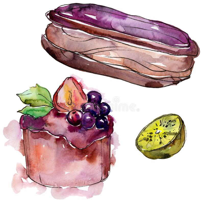 Tasty sweet desserts in a watercolor style. Background illustration set. Watercolour drawing fashion aquarelle isolated. Tasty sweet desserts in a watercolor stock illustration
