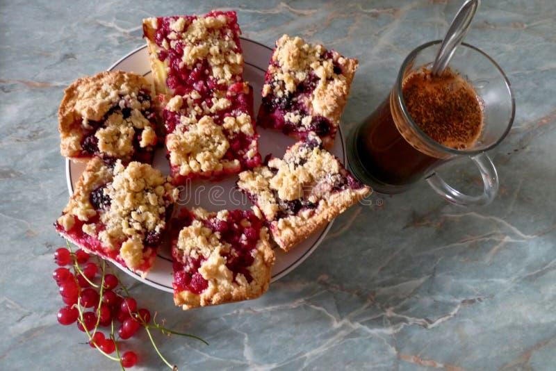 Tasty sweet fruit crumble cake stock images