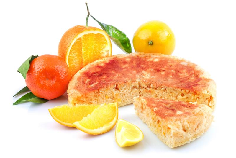 Tasty sweet pie homemade with orange, lemon, tangerine, mandarin royalty free stock photography