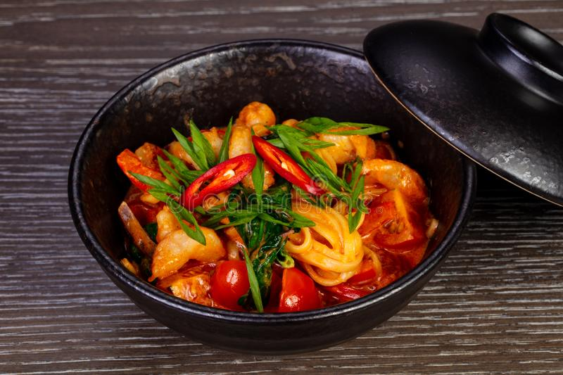 Tasty thai noodles. With vegetables and seafood royalty free stock image