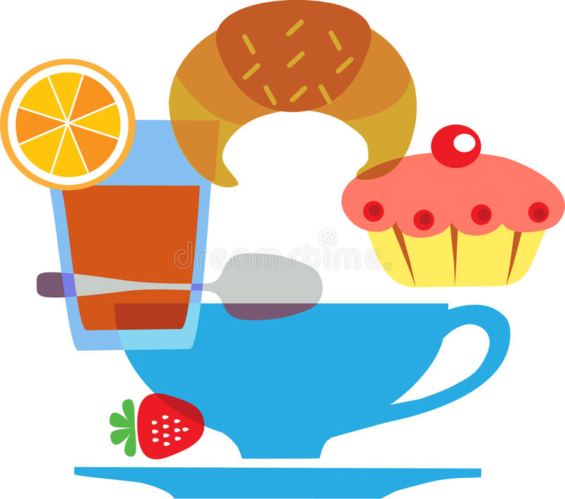 Tasty tipical american breakfast set - 2 royalty free illustration