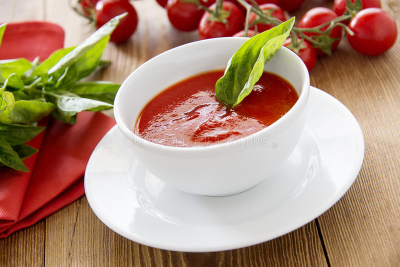 Tasty tomato soup royalty free stock photo