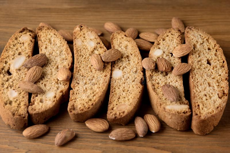 Tasty Traditional Italian Sweets Biscotti or Cantucci on Wooden Background Italian Biscotti for Coffee or Wine Italian Snack Close. Up stock images