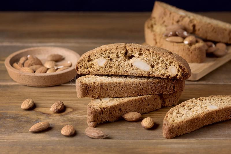 Tasty Traditional Italian Sweets Biscotti or Cantucci on Wooden Background Italian Biscotti for Coffee or Wine Italian Snack.  royalty free stock image