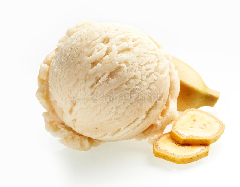 Tasty tropical banana ice cream scoop stock image