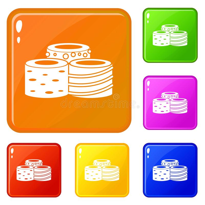Tasty Turkish delight icons set vector color. Tasty Turkish delight icons set collection vector 6 color isolated on white background royalty free illustration