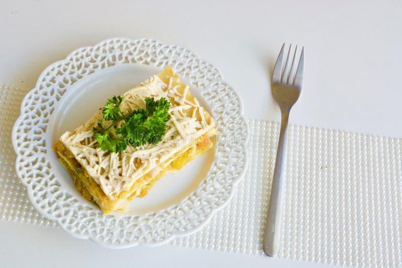 Tasty vegetable lasagna royalty free stock photos