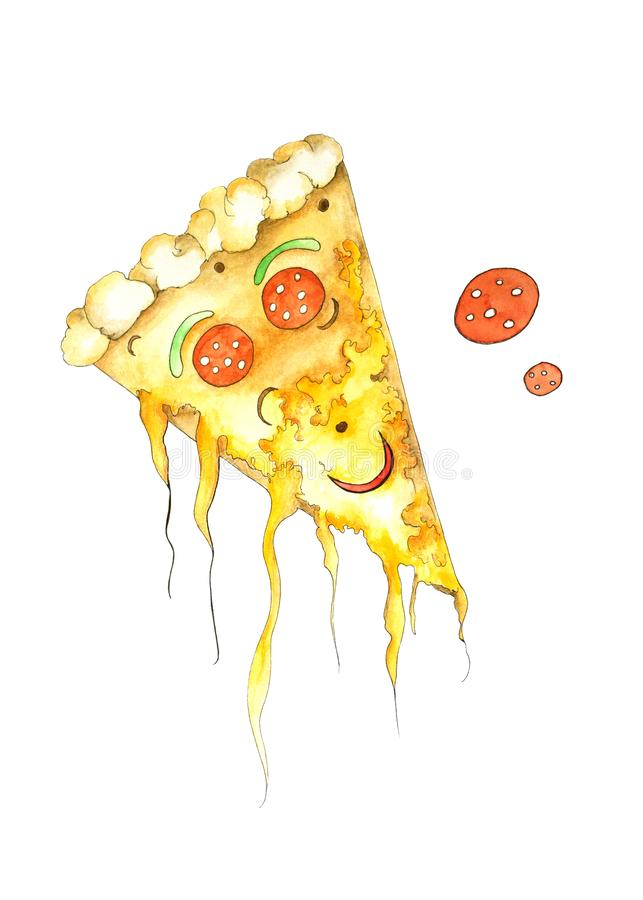 Watercolor pizza royalty free illustration