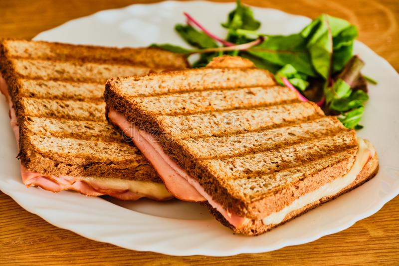 Toast with ham and cheese on white plate royalty free stock photos